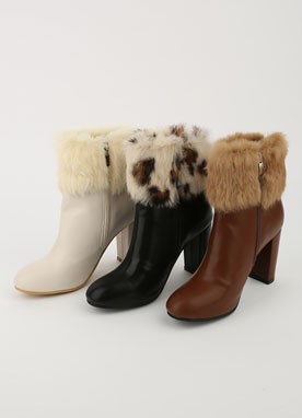 Rex Fur High Heel Ankle Boots, Styleonme