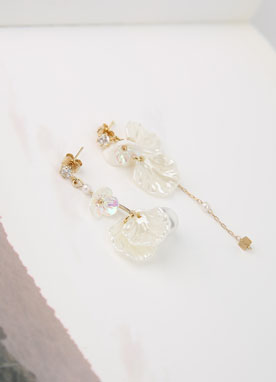 White Flower Drop Earrings, Styleonme
