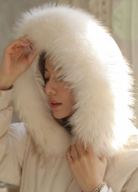 Fox Fur Hooded Down Padded Coat, Styleonme