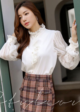 Pearl Button Lace Sleeve Frill Blouse, Styleonme