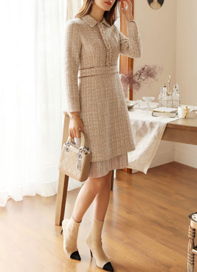 Velvet Trim Collared Tweed Dress, Styleonme