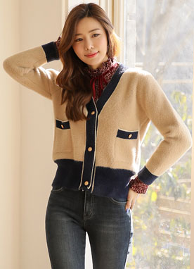 Gold Button Contrast Trim V-Neck Cardigan, Styleonme