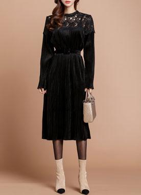 蕾絲肩領天鵝絨百褶連衣裙, Styleonme