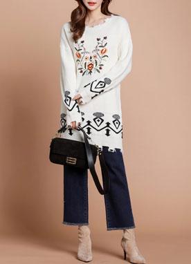 民族風刺繡長款針織衫, Styleonme