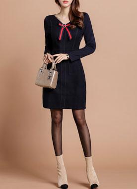 鑲鉆胸針套裝毛織連衣裙, Styleonme