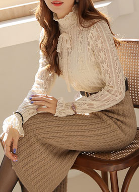 See-through Lace Ribbon Tie Blouse, Styleonme