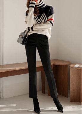Side Slit Brushed Straight Leg Slacks, Styleonme