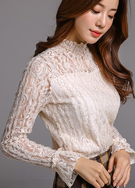 Floral Lace Mock Neck Sweetheart Neckline Blouse, Styleonme
