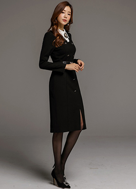 Classic Brooch Tie Double-Breasted Dress, Styleonme
