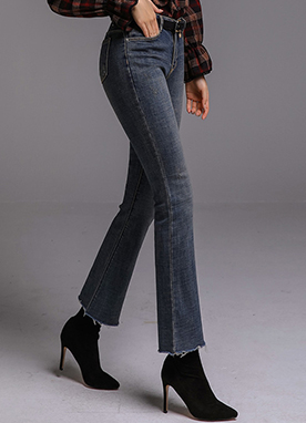 Raw Hem Brushed Boot-Cut Jeans, Styleonme