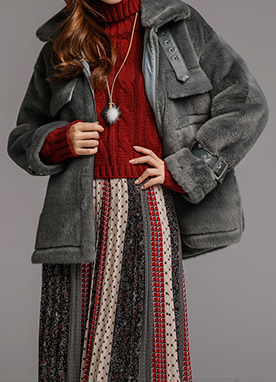 High Neck Strap Faux Fur Mustang Coat, Styleonme