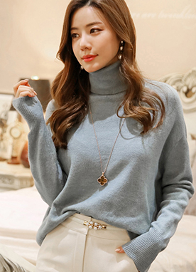 Loose Fit Soft Turtleneck Knit Sweater, Styleonme