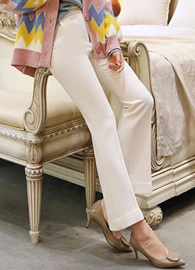 Perfect Fit Slim Boot-Cut Slacks, Styleonme