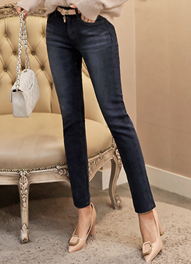 Soft Blue Wash Brushed Slim Straight Leg Jeans, Styleonme