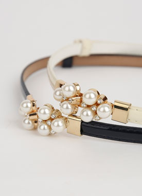 Pearl Accent Slim Belt, Styleonme