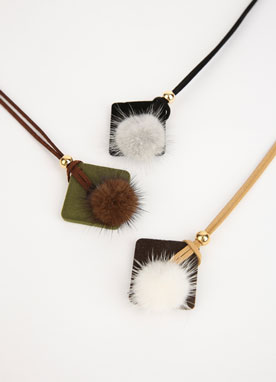 Mink Fur Suede Daily Necklace, Styleonme