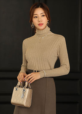 Squared Texture Turtleneck Knit Top, Styleonme