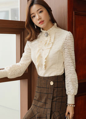 Pearl Button Floral Lace Frill Blouse, Styleonme
