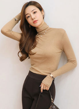 See-through Wool-Tencel Blend Turtleneck Tee, Styleonme
