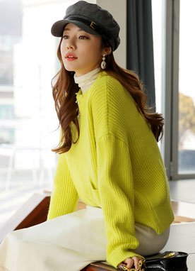 Front Pocket & Slit Knit Sweater, Styleonme