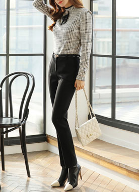 Slim Brushed Straight Leg Slacks, Styleonme