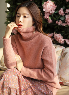 Loose Fit Turtleneck Knit Sweater, Styleonme