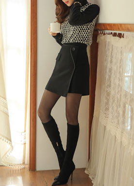 Leather Trim Button-Up Skirt, Styleonme
