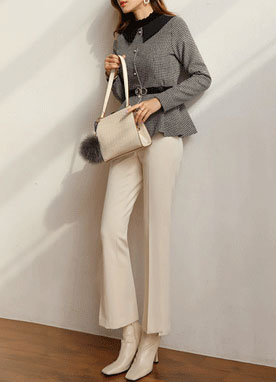 Slit Hem Brushed Boot-Cut Slacks, Styleonme