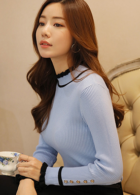 Color Line Ribbed Turtleneck Knit Top, Styleonme
