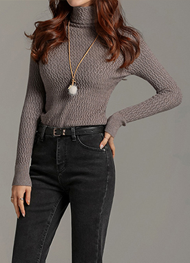 Waffle Texture Turtleneck Knit Top, Styleonme