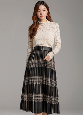 Ethnic Pattern Long Pleated Skirt, Styleonme