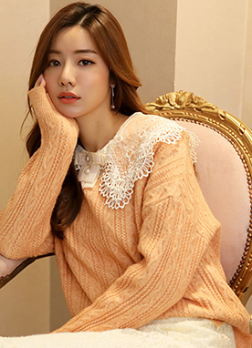 Candy Color V-Neck Cable Knit Sweater, Styleonme