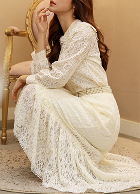 Brushed Lace Frill Hem Long Skirt, Styleonme
