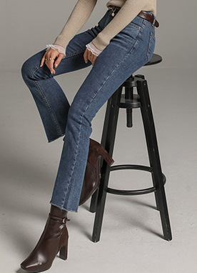 Daily Blue Brushed Slim Boot-Cut Jeans, Styleonme