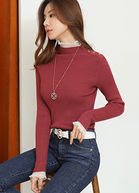 Lace Trim Mock Neck Ribbed Knit Top, Styleonme