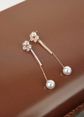 Flower Pearl Drop Earrings, Styleonme