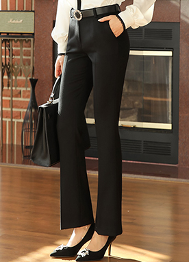 Classic Brushed Slim Boot-Cut Slacks, Styleonme