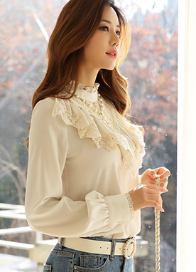 Feminine Floral Lace Frill Blouse, Styleonme