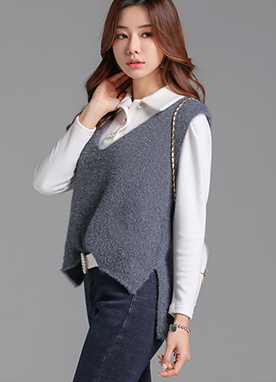 Metallic Soft Knit Vest, Styleonme