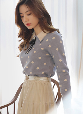 Polka Dot Brooch Set Collared Blouse, Styleonme