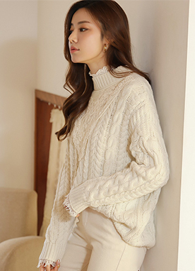 Lace Detail Loose Fit Cable Knit Sweater, Styleonme