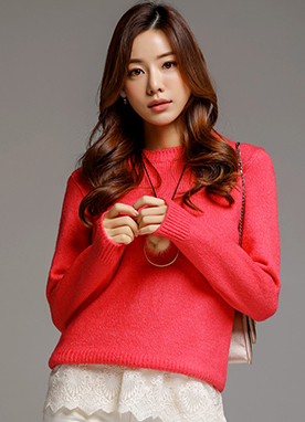 8Colors Round Neck Knit Sweater, Styleonme