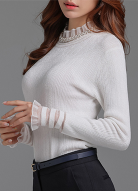 See-through Frill Trim Knit Tee, Styleonme