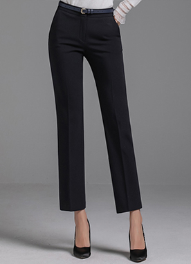 Brushed Slim Straight Leg Slacks, Styleonme