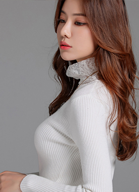 Floral Lace Turtleneck Detail Knit Top, Styleonme