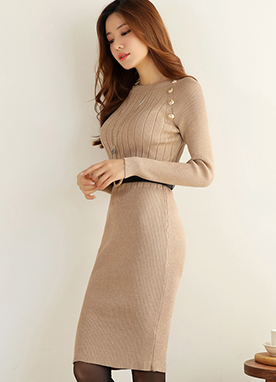 Gold Button Metallic Ribbed Knit Dress, Styleonme