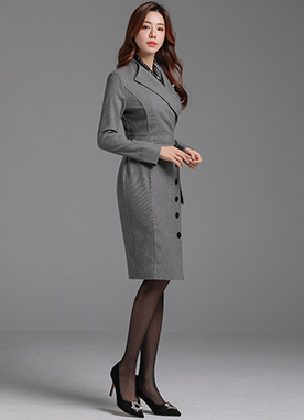 Modern Classic Wrap Tailored Dress, Styleonme
