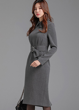 Floral Lace Collar Belted Dress, Styleonme