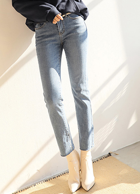 Blue Wash Whisker Slim Straight Leg Jeans, Styleonme
