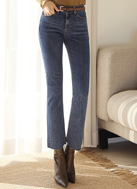 Deep Blue Slim Boot-Cut Jeans, Styleonme